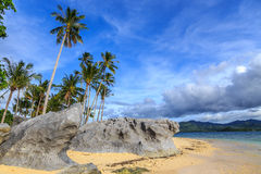 Tropical coastline with rocks and palm trees, Palawan, Philippin Stock Photography