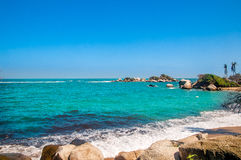 Tropical coastline of Tayrona National park in Colombia Stock Photos