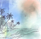 Tropical coastline view with palm trees, watercolor background. Vector image. Tropical coastline view with palm trees, watercolor background Royalty Free Stock Photography