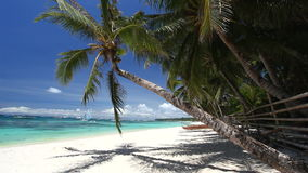 Tropical coastline with white sand, Philippines, Boracay stock footage