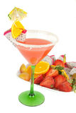 Tropical cocktail  with fruits plate Stock Photos