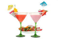Tropical cocktail  with fruits plate Stock Images