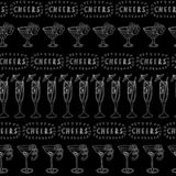 Cocktail glasses vector seamless pattern. White drinking glasses in a row on a black background with Cheers lettering. Great for royalty free illustration