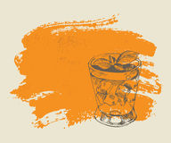 Tropical cocktail on orange background Stock Photography
