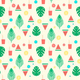 Tropical cocktail seamless pattern with palm leaves, watermelon and lemons Stock Photography