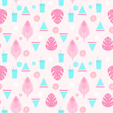Tropical cocktail seamless pattern with palm leaves, watermelon and lemons. Stock Photography