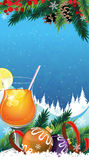 Tropical cocktail on a winter background Royalty Free Stock Photos