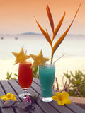 Tropical Cocktails. By the sea. (Phuket in Thailand Stock Photo