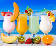 Tropical cocktails with fresh fruits Stock Photography