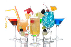 Tropical Cocktails garnished composition Stock Photos