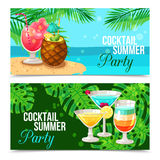 Tropical Cocktails Horizontal Banners Stock Photo