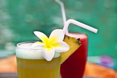 Tropical cocktails by a pool Royalty Free Stock Image