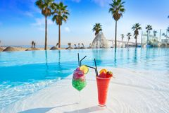 Tropical cocktails in resort infinity pool. Lounge bar Royalty Free Stock Photos