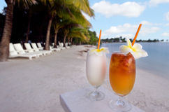 Tropical cocktails served outdoor in Aitutaki Lagoon Cook Island Royalty Free Stock Images