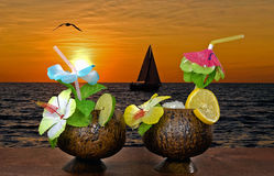 Tropical cocktails at sunset Stock Photos