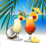 Tropical cocktails Tequila Sunrise and Pina Colada. Vector tropical cocktails Tequila Sunrise and Pina Colada on azure seaside with palm leaves background Royalty Free Stock Photos
