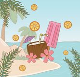 Tropical coconut on the beach scene. Vector illustration design vector illustration