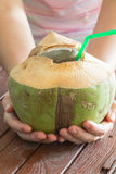 Tropical coconut cocktail Stock Images