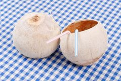 Tropical Coconut Drink Cups Royalty Free Stock Image
