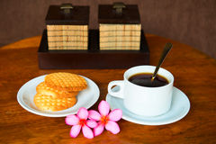 Tropical coffee with cookies Stock Photo