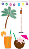 Tropical Collection. A collection of tropical and tiki type objects. Included are tiki lanterns, palm tree, tiki torch, tropical fruity drink and drink in Stock Photo
