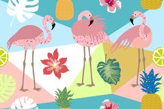 Seamless vector border pith flamingos, flowers and palm leaves. Tropical collection. Exotic birds and floral background Royalty Free Stock Images