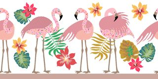 Seamless vector border pith flamingos, flowers and palm leaves. Tropical collection. Exotic birds and floral background Royalty Free Stock Photo