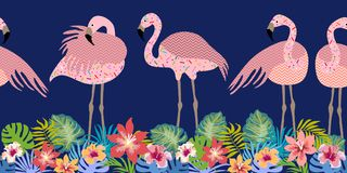 Seamless vector border pith flamingos, flowers and palm leaves. Tropical collection. Exotic birds and floral background Royalty Free Stock Photography