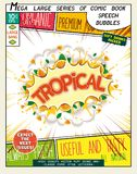 Tropical. Colorful explosion with fruit, splashes and clouds of smoke. With caption in comic style Stock Photos