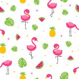 Tropical colorful flamingo seamless pattern with leaves, melon and pineapple Stock Photo
