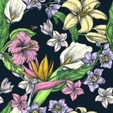 Tropical flowers seamless vector pattern. Sketch hand drawn illustration. Fashion textile print or floral background. Tropical colorful flowers black seamless vector illustration