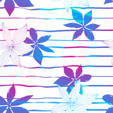 Tropical colorful hibiscus flowers on stripes seamless pattern Stock Images