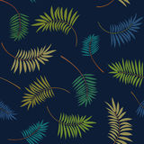 Tropical colorful palm leaves on the dark blue background. Vector trendy seamless pattern. Royalty Free Stock Images