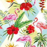 Tropical composition flamingo flowers and plants seamless patter Stock Photography