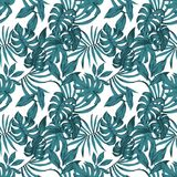Tropical leaves abstract color seamless white background. Tropical composition floral pattern monstera leaves abstract blue color seamless beach vector white Royalty Free Stock Photos