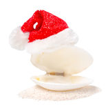 Tropical concept of new year with shell and red Santa Claus hats. On sand isolated, white background Royalty Free Stock Photo