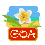 Tropical concept with plumeria flower. Vector illustration icon for Goa traveling. Stock Photo
