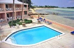 Tropical Condo Pool. Choice of Swimming - pool or ocean. Great Exuma Island, The Bahamas royalty free stock images