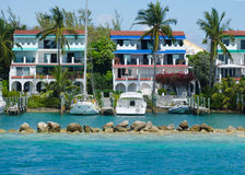 Tropical condo resort. With boats in Bahamas Royalty Free Stock Photo