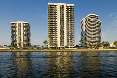 Tropical condos. Three majestic condos rise off the intracoastal waterway in Florida Royalty Free Stock Image