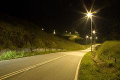 Tropical Country Road at Night Stock Photography