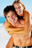 Tropical couple fun Stock Image