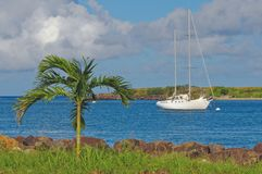 Tropical Cove. A sailboat is anchored offshore in a tropical island cove Royalty Free Stock Images