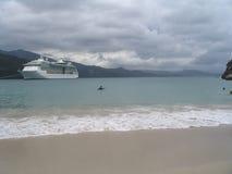 Tropical cruise. Cruiseship on Caribbean stock images