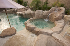 Tropical Custom Pool & Jacuzzi. With rocks and waterfalls Stock Images