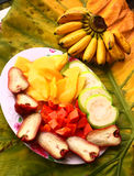 Tropical cut fruit plate Royalty Free Stock Photo