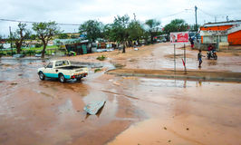 Tropical Cyclone Dineo destruction in Maxixe, Mozambique. Tropical Cyclone Dineo was the first tropical cyclone to hit Mozambique in February 2017.Destruction in Royalty Free Stock Images