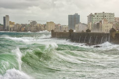 Tropical cyclone in Havana. With huge waves hitting the sea wall Stock Photography