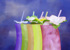 Tropical Day. Five drinks waiting for an owner.Studio shop Canon 5D/85mm Stock Photo