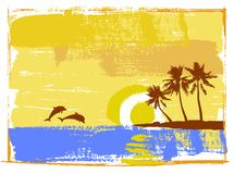 Tropical day, palm trees. Beautiful day in a paradise beach Royalty Free Stock Photography